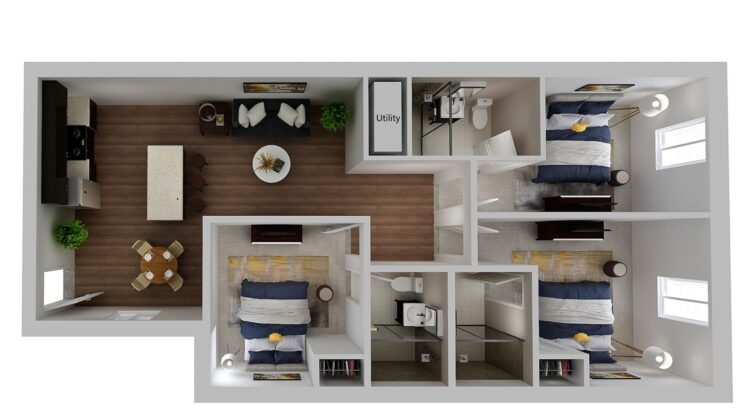 HH Eleanor apartment deluxe floor plan, 3 bedroom and 3 bathroom