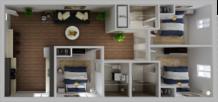 HH Elenaor apartment original floor plan, 3 bedroom and 3 bathroom
