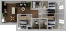 HH Eleanor apartment deluxe floor plan, 3 bedroom and 3 bathroom